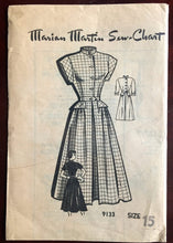 "1950's Marian Martin One-Piece Dress with High Collar and Cap or Long Sleeves - Bust 33"" - UC/FF - No. 9133"