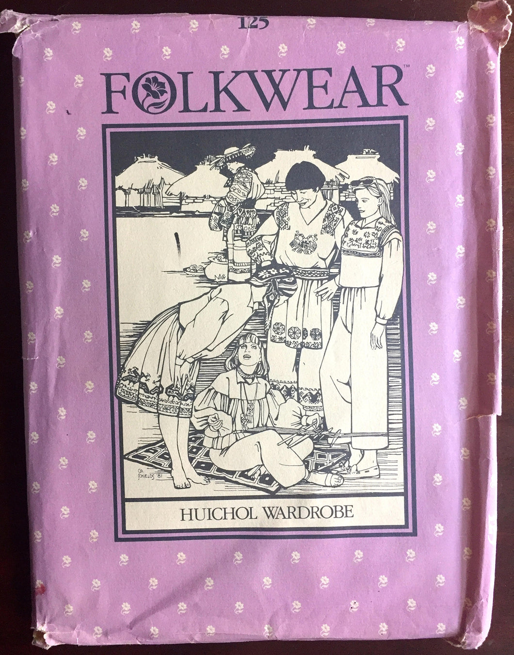 1980's Folkwear Huichol Wardrobe, Tunic, Pants, Skirt, Top, Tabard pattern - Bust 30.5-38