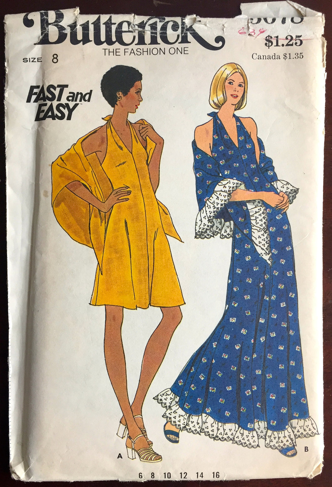 1970's Butterick Maxi Halter Dress and Day Dress and Shawl Pattern - Bust 31.5