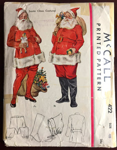 "1930's McCall's Santa Costume with Hat, Leggings, Coat, Belt and Pants Pattern - Chest 40"" - No. 422"