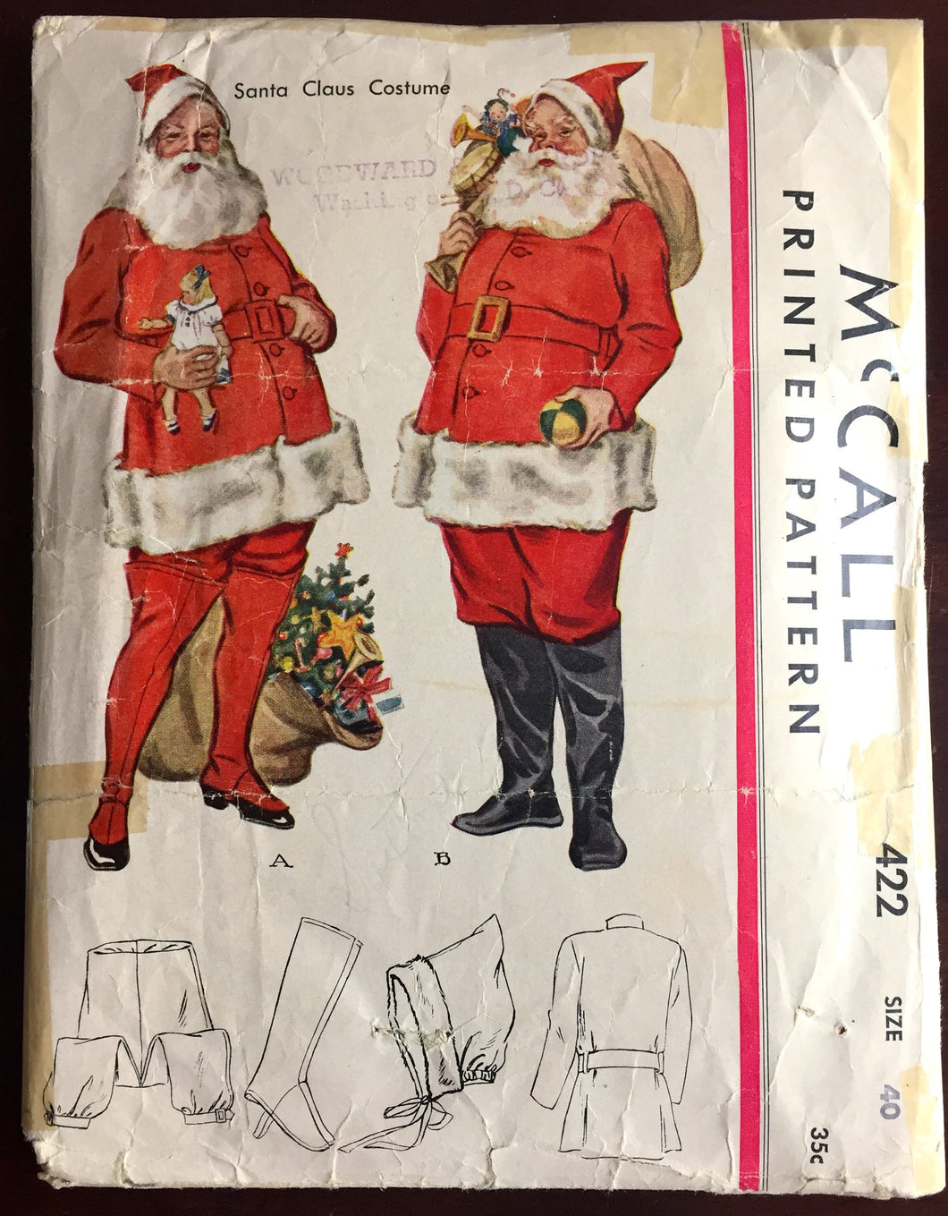 1930's McCall's Santa Costume with Hat, Leggings, Coat, Belt and Pants Pattern - Chest 40
