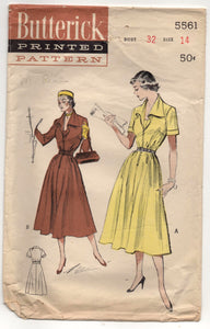 "1950's Butterick One-Piece Dress with Flyaway Collar Pattern - Bust 32"" - No. 5561"