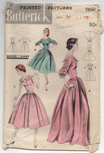 1950's Butterick One-Piece Gown or Day Dress with Full Skirt - Bust 31' - no. 7659