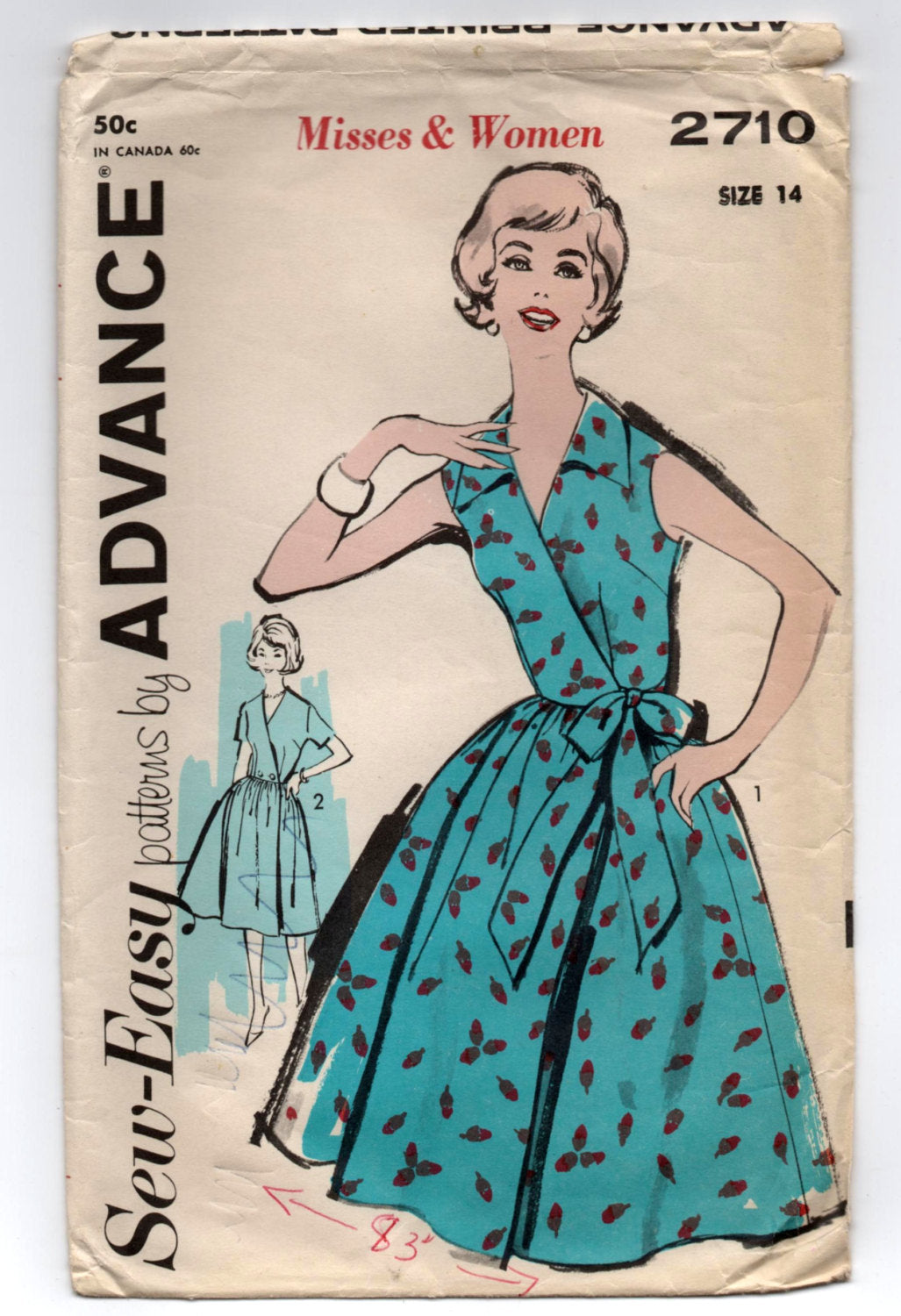 1950's Advance Wrap Dress with Full Skirt Pattern - Bust 34
