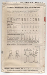 "1950's Advance Wrap Dress with Full Skirt Pattern - Bust 34"" - No. 2710"