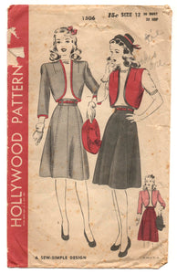 "1940's Hollywood Bolero and Skirt Pattern - Bust 30"" - No. 1506"