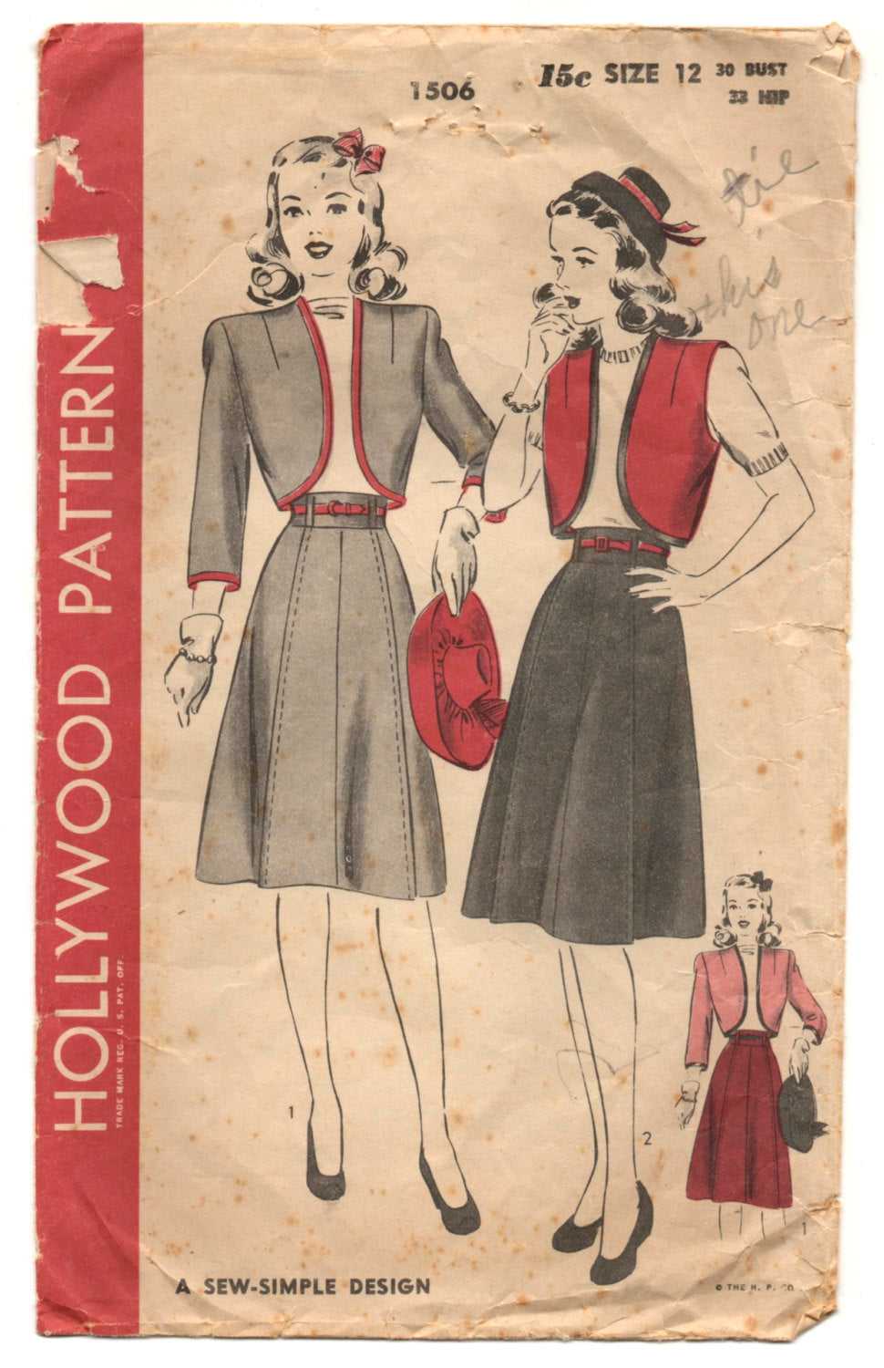1940's Hollywood Bolero and Skirt Pattern - Bust 30