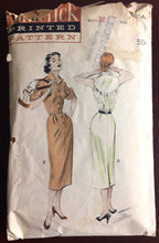 "1950's Butterick One-Piece Wing-Collar Wiggle Dress Pattern - Bust 32"" - No. 6504"