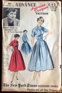 "1950's Advance Shirtwaist Dress Pattern - by Elizabeth Hilt - Bust 34"" - UC/FF - No. 6415"