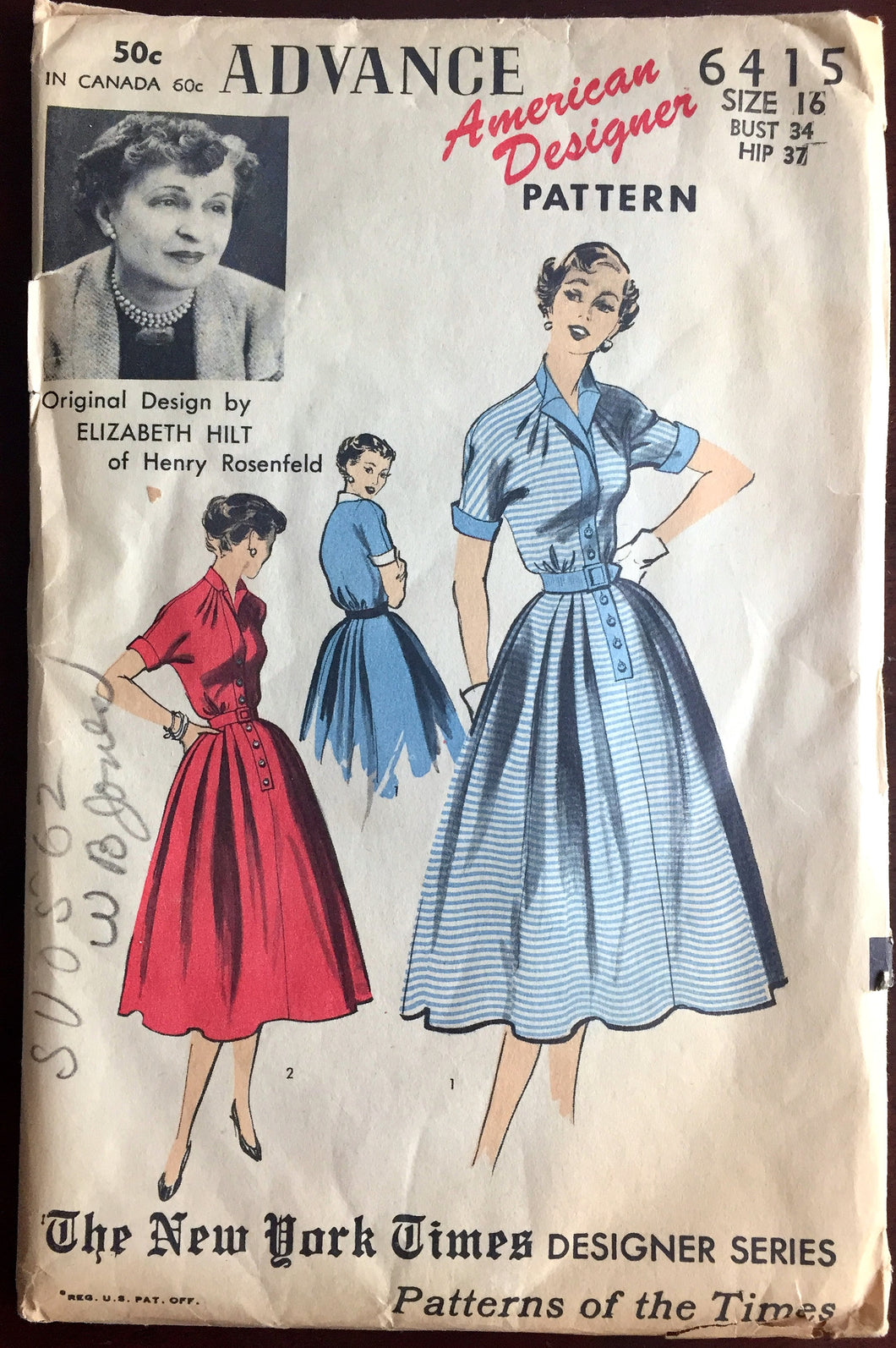 1950's Advance Shirtwaist Dress Pattern - by Elizabeth Hilt - Bust 34