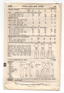 "1950's Advance One-Piece Dress and Bolero Pattern - Bust 30"" - UC/FF - No. 6780"