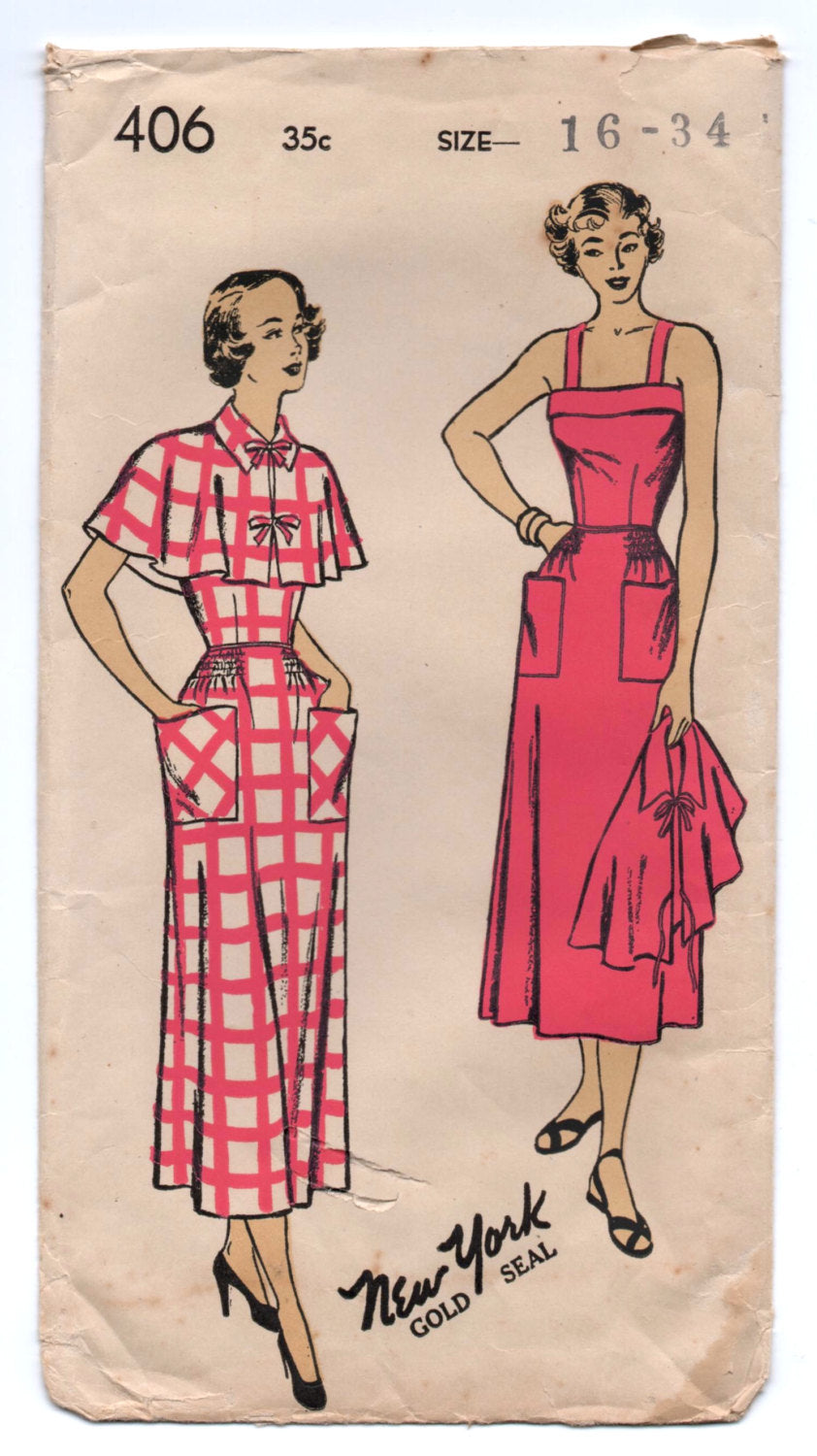 1940's New York One-Piece Summer Dress and Cape Pattern - Bust 34