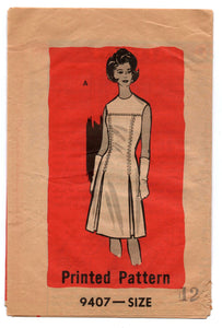 "1960's Mail Order One-Piece Shift Dress - bust 32"" - 9407"
