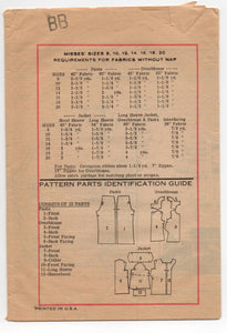 "1970's Mail Order Jacket, Tunic, and Pants Pattern - Bust 34"" - UC/FF - No. 4520"