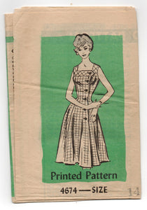"1950's Mail Order One-Piece Dress with Front Buttons Pattern - Bust 34"" - No. 4674"