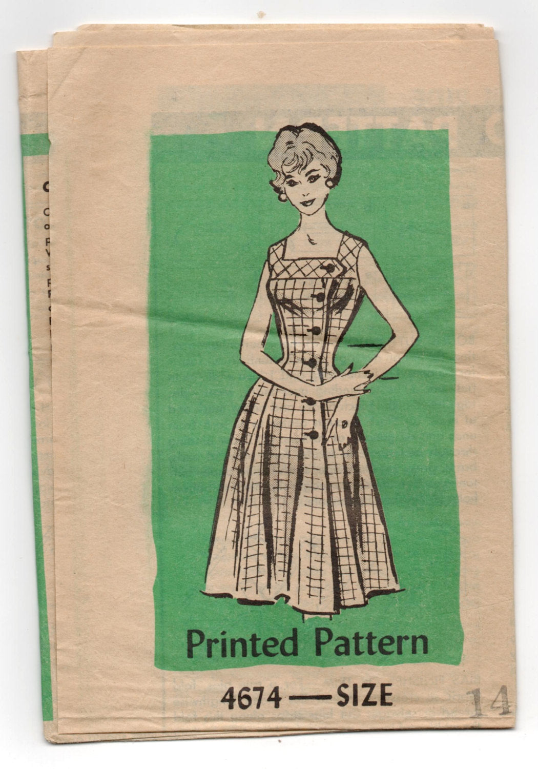 1950's Mail Order One-Piece Dress with Front Buttons Pattern - Bust 34