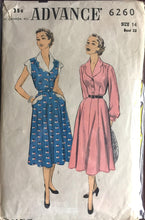 "1950's Advance One-Piece Shirt-waist Dress with Scalloped Collar, Sleeves, and Trim Pattern - Bust 32"" - No. 6260"