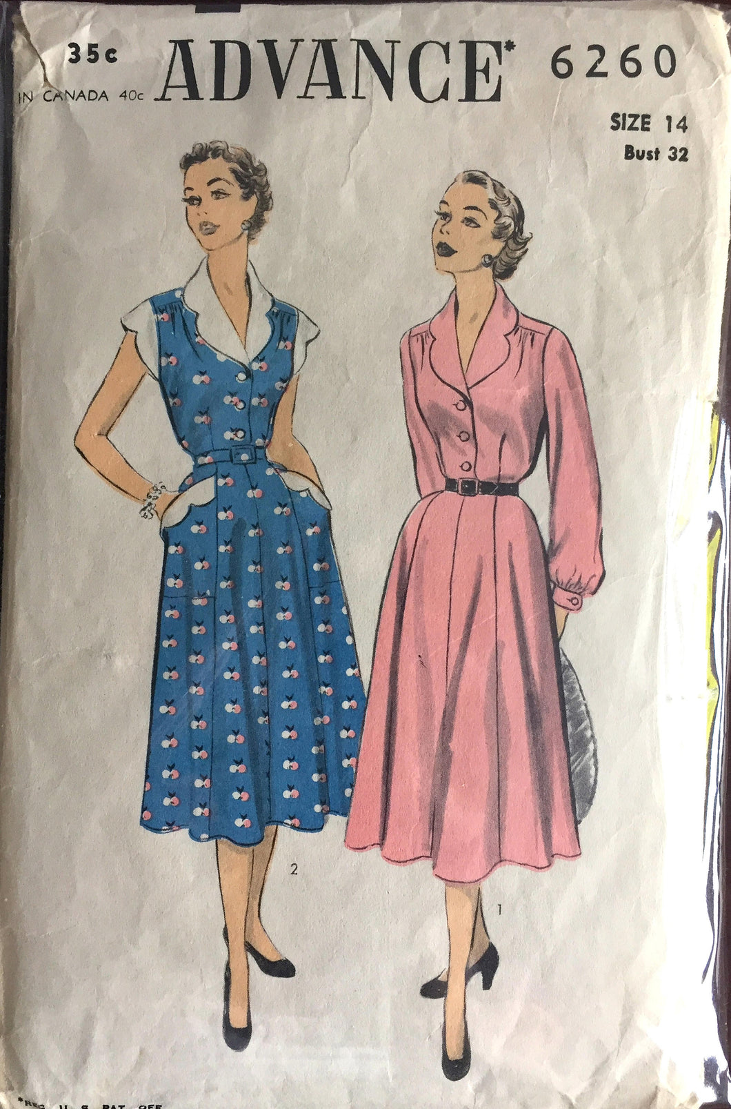 1950's Advance One-Piece Shirt-waist Dress with Scalloped Collar, Sleeves, and Trim Pattern - Bust 32