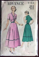 "1950's Advance One-Piece Shirt-waist Dress with Collar and Short Sleeves Pattern - Bust 30"" - No. 5163"
