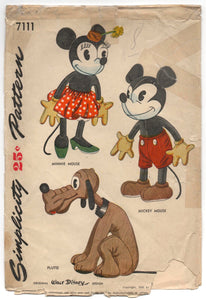 1940's Simplicity Disney Mickey Mouse, Minnie Mouse, and Pluto Stuffed Animal Pattern - No. 7111 - Minnie and Pluto UC/FF
