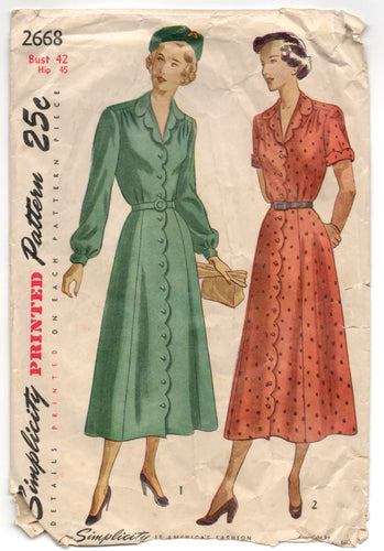 1940's Simplicity One-Piece Dress with Scallop detail Pattern - Bust 42