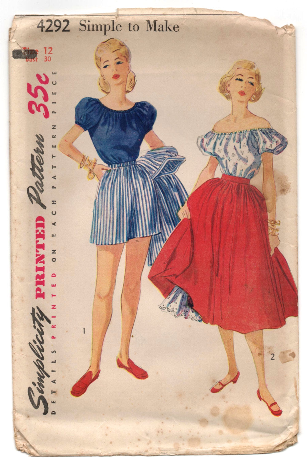 1950's Simplicity Peasant Blouse, Shorts and Skirt Pattern - Bust 30