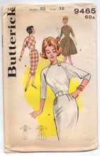 "1960's Butterick One-Piece Wiggle or Rockabilly Dress with Long os Elbow Sleeves - Bust 32"" - No. 9465"