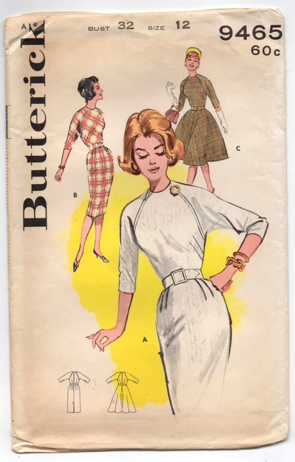 1960's Butterick One-Piece Wiggle or Rockabilly Dress with Long os Elbow Sleeves - Bust 32