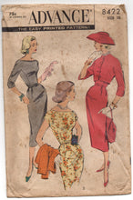 "1950's Advance Wiggle Dress with Jacket Pattern - Bust 31"" - No. 8422"