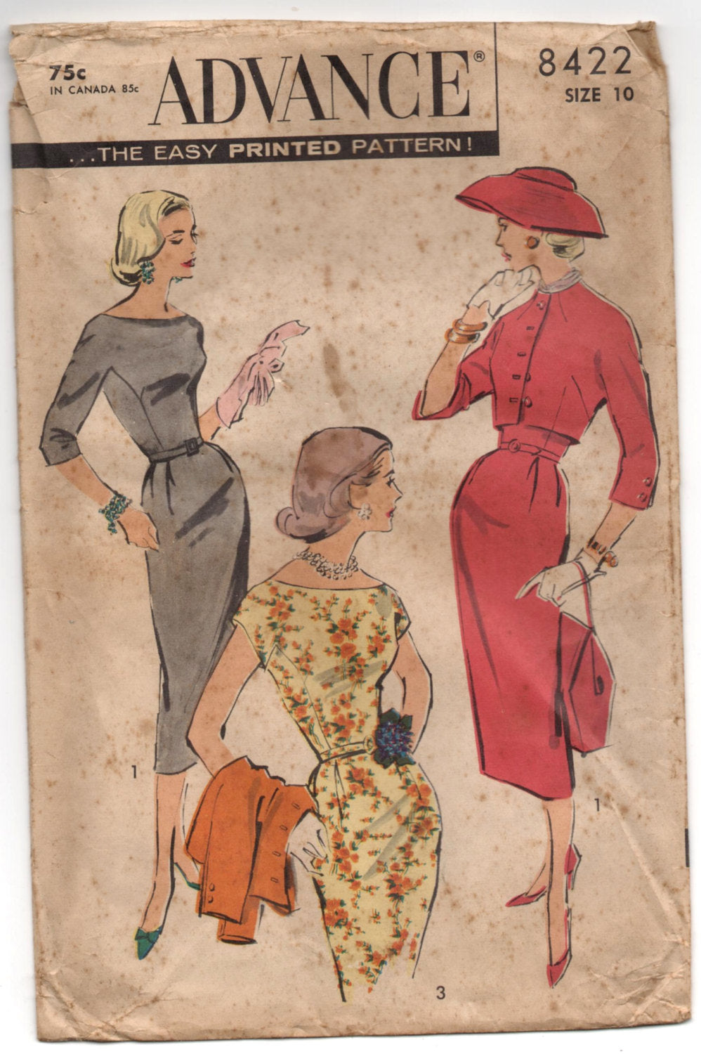 1950's Advance Wiggle Dress with Jacket Pattern - Bust 31