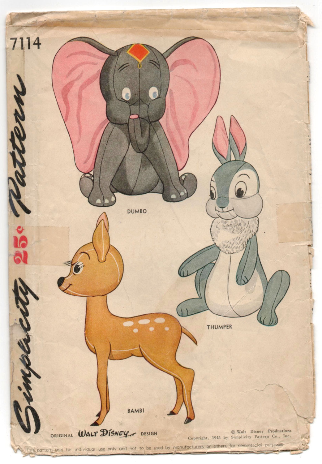 1940's Simplicity Dumbo, Bambi and Thumper Stuffed Animal Pattern - No. 7114