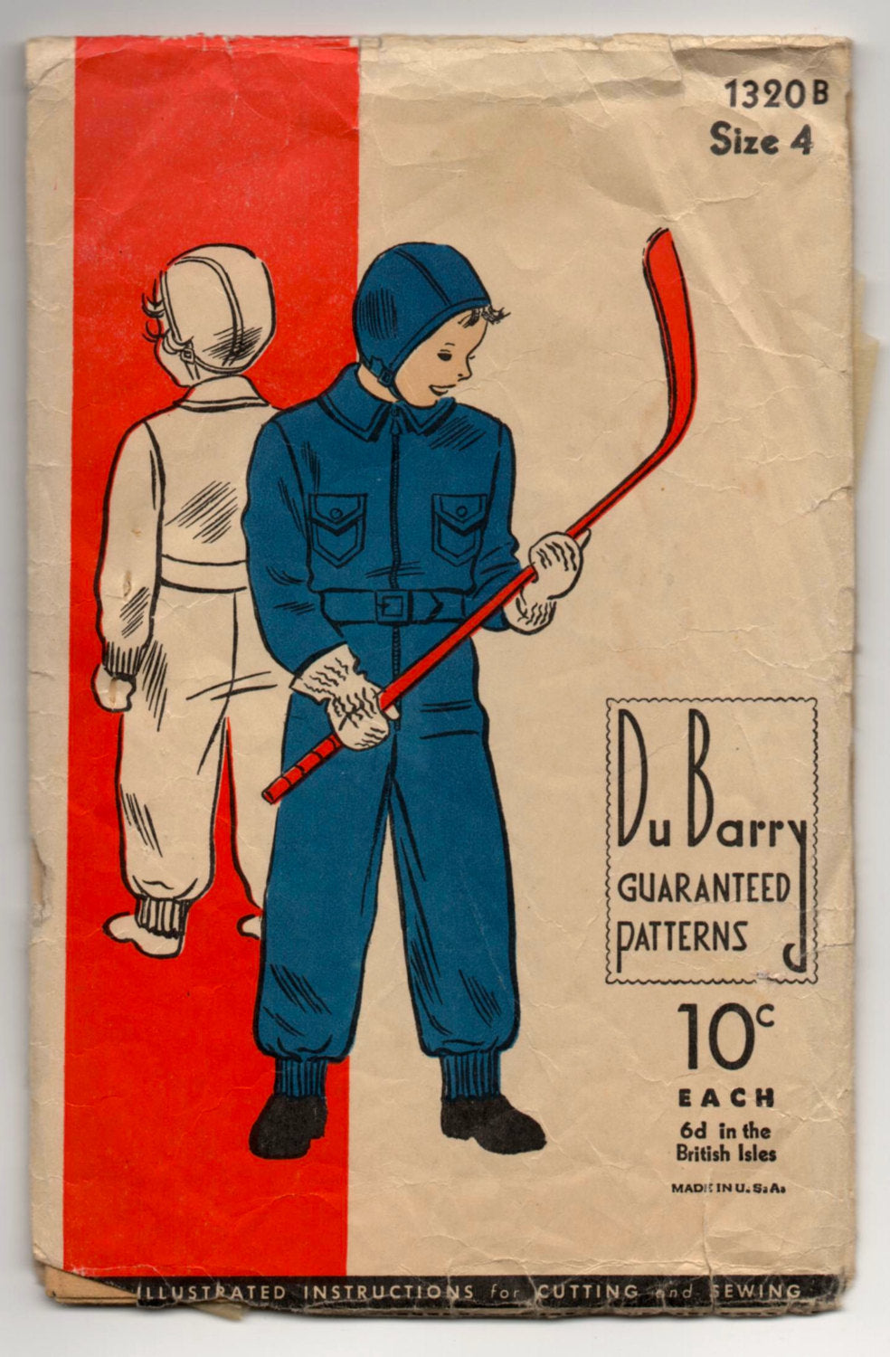 1930's DuBarry Snowsuit and Hat Pattern - 4yrs - No. 1320B