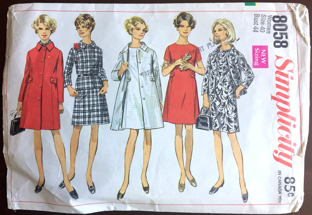 1960's Simplicity Coat, Jacket and One-Piece Dress Pattern - Bust 44