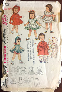 "1950's Simplicity Wardrobe, Robe, Coat, Hat, Dress, Pajamas Doll Pattern- 16"" doll - No. 3728"