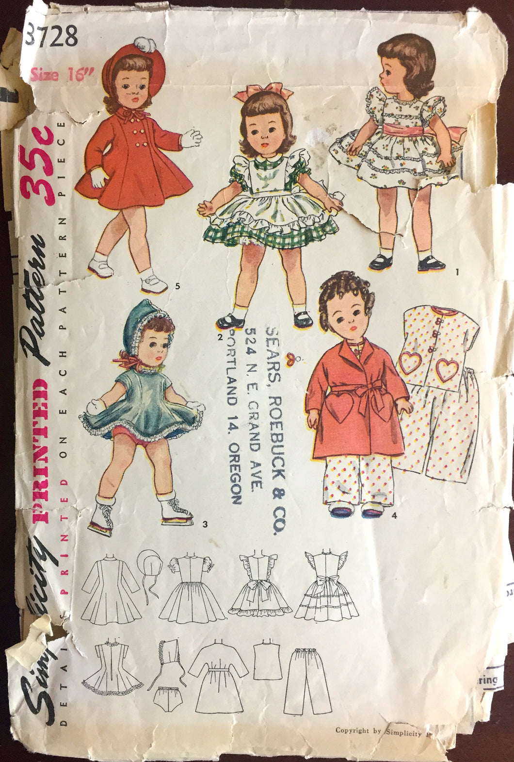 1950's Simplicity Wardrobe, Robe, Coat, Hat, Dress, Pajamas Doll Pattern- 16