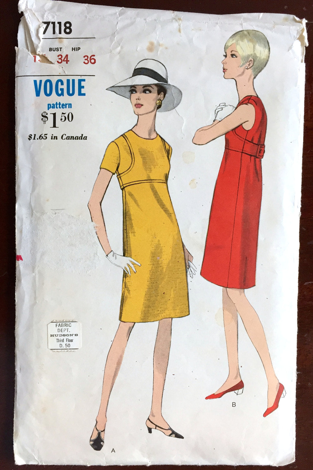 1960's Vogue One-Piece Dress with Two Sleeve-lengths - Bust 34