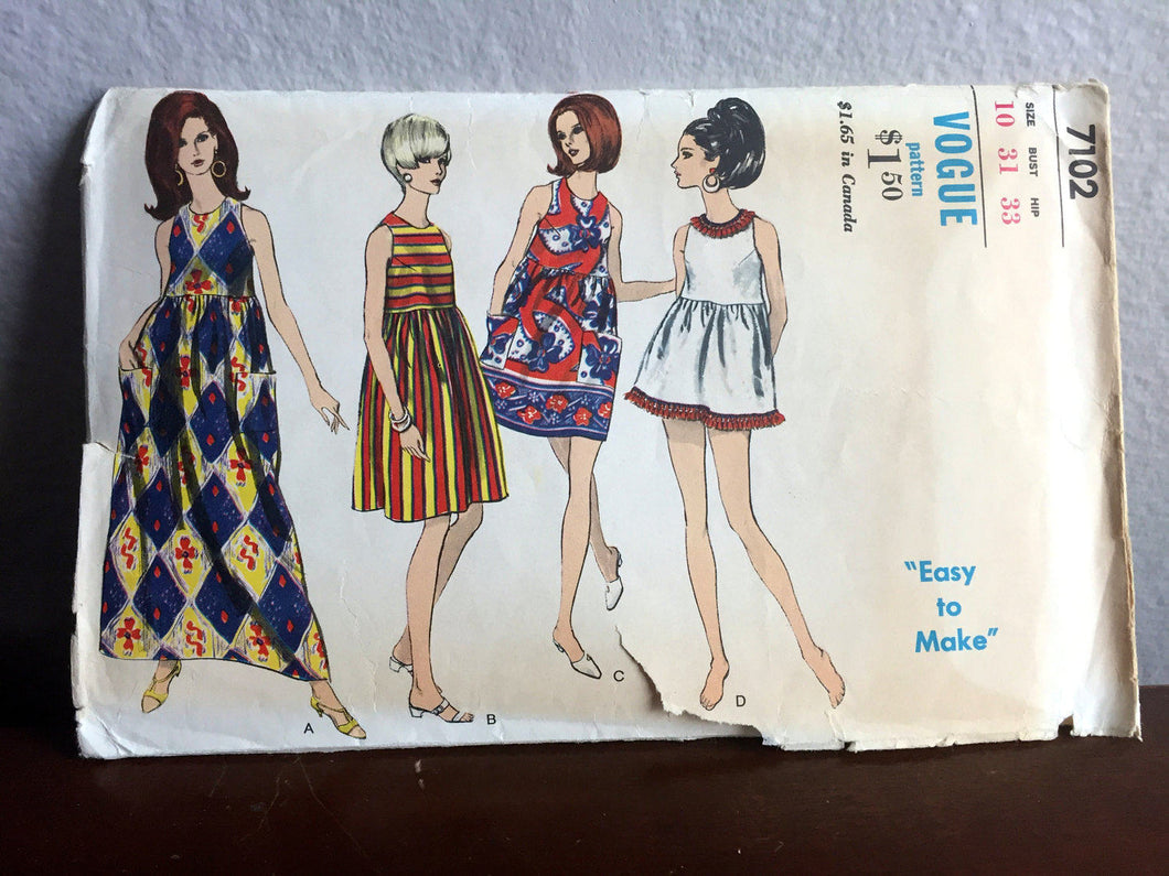 1960's Vogue Maxi or Mini Dress Pattern with Empire Waist - Bust 31