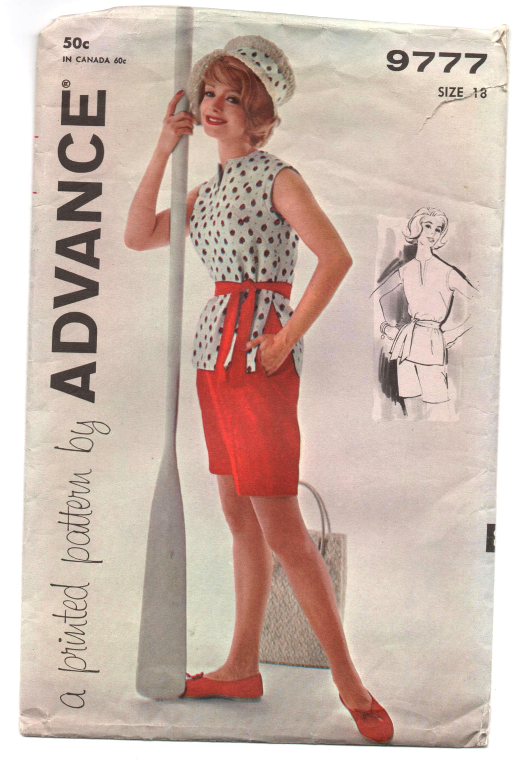 1960's Advance Blouse and Shorts Sports Attire pattern - Bust 38