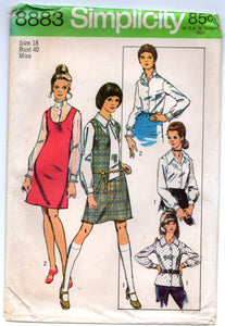 "1970's Simplicity Jumper, Blouse and Tie Pattern - Bust 40"" - UC/FF - No. 8883"