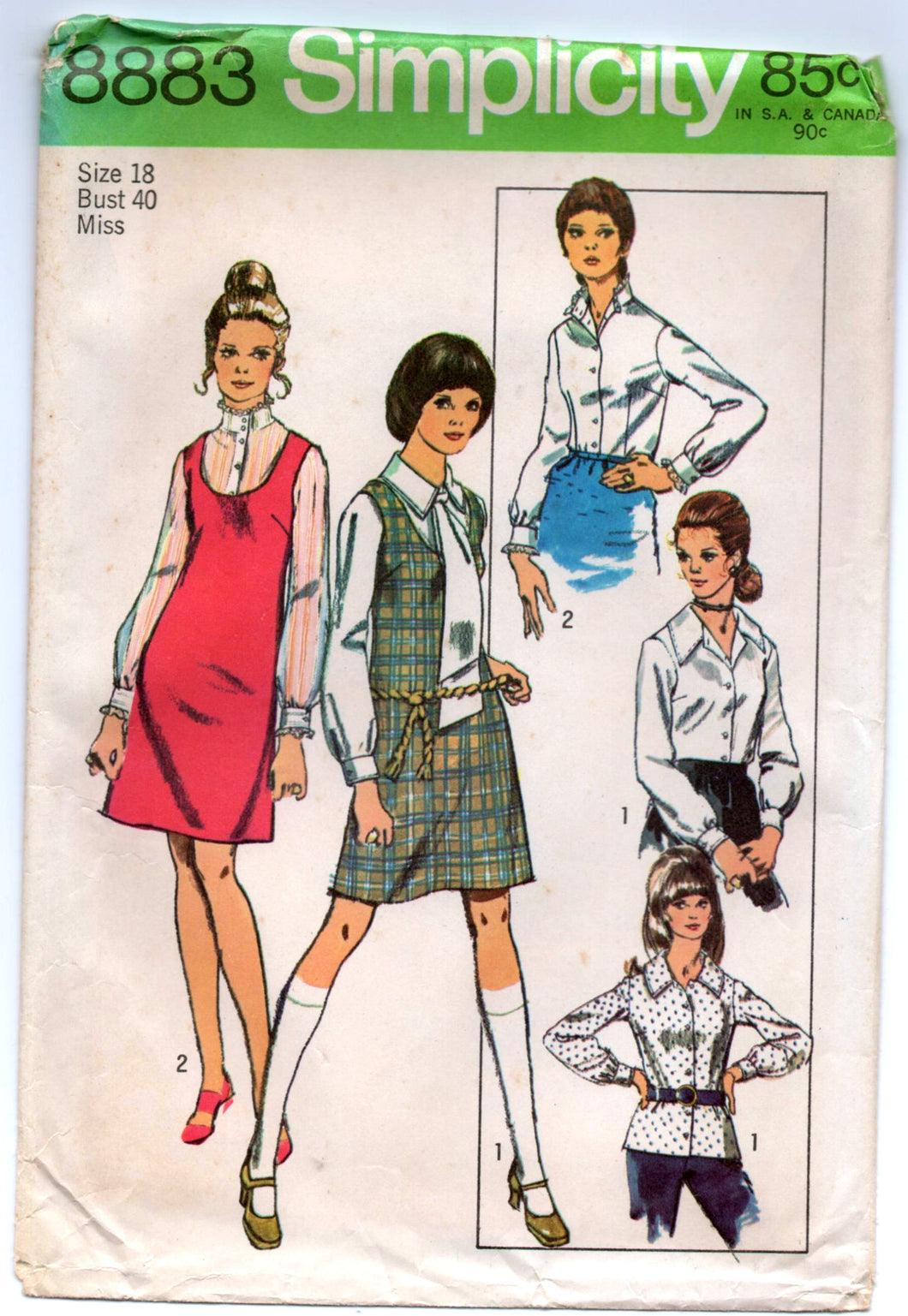 1970's Simplicity Jumper, Blouse and Tie Pattern - Bust 40