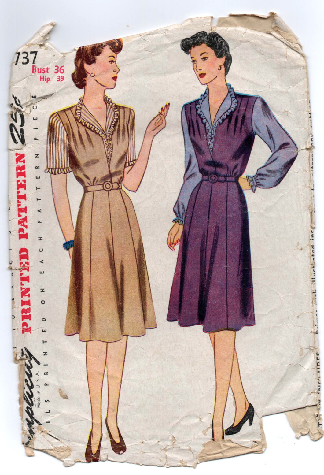 1940's Simplicity Dress and Blouse Pattern - Bust 36
