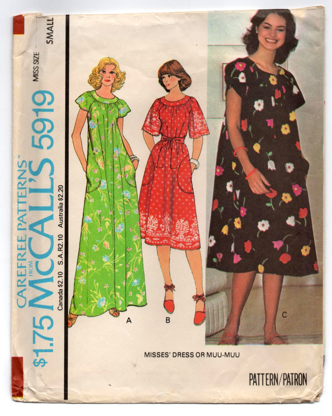 1970's McCall's Maxi or Summer Dress with tie waist Pattern - Bust 32.5-34