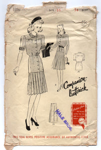 "1940's Butterick Two Piece Dress with tie waist pattern - Bust 34"" - no. 1316"