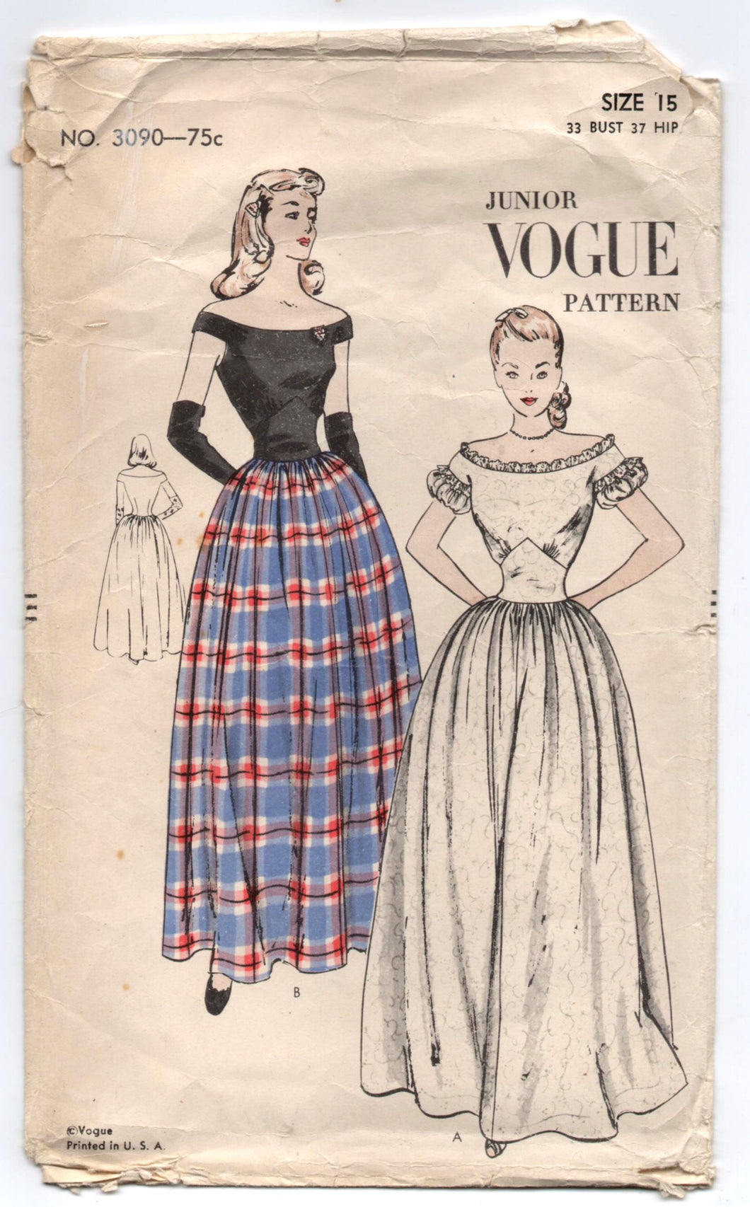 1940's Vogue Evening or Prom or Homecoming Dress with Off the Shoulder Sleeves - Bust 33
