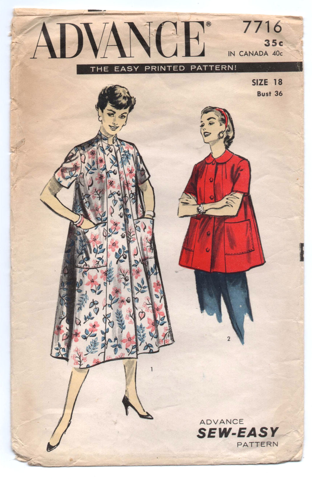 1950's Advance Long or Short Coat Pattern - Bust 36