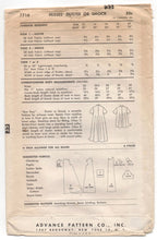 "1950's Advance Long or Short Coat Pattern - Bust 36"" - No. 7716"