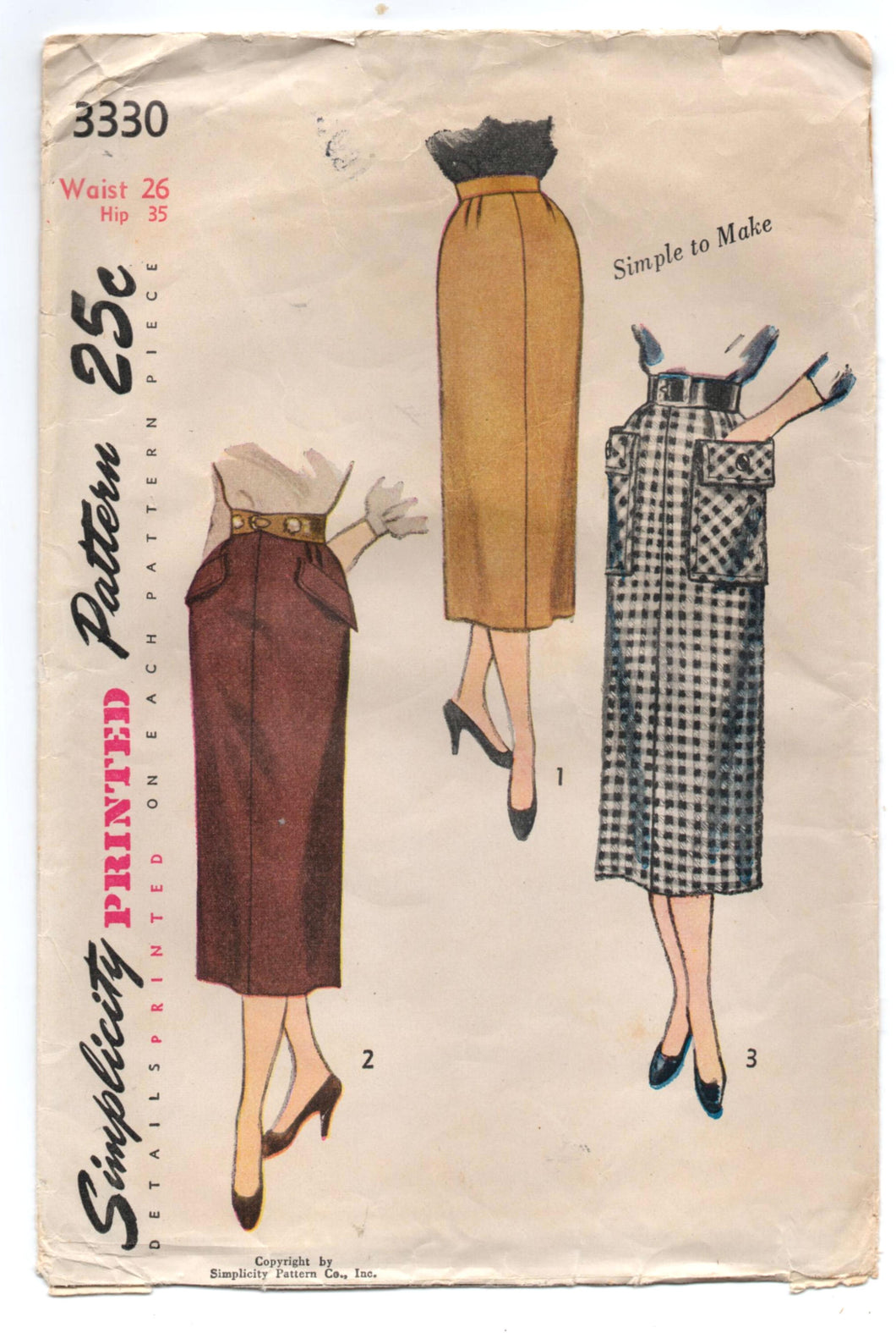 1950's Simplicity Slim Skirt with Pockets Pattern - Waist 26