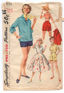 "1950's Simplicity Full Skirt, Crop Top, Shorts and Blouse with Kimono sleeves Pattern - Bust 30"" - No. 1170"
