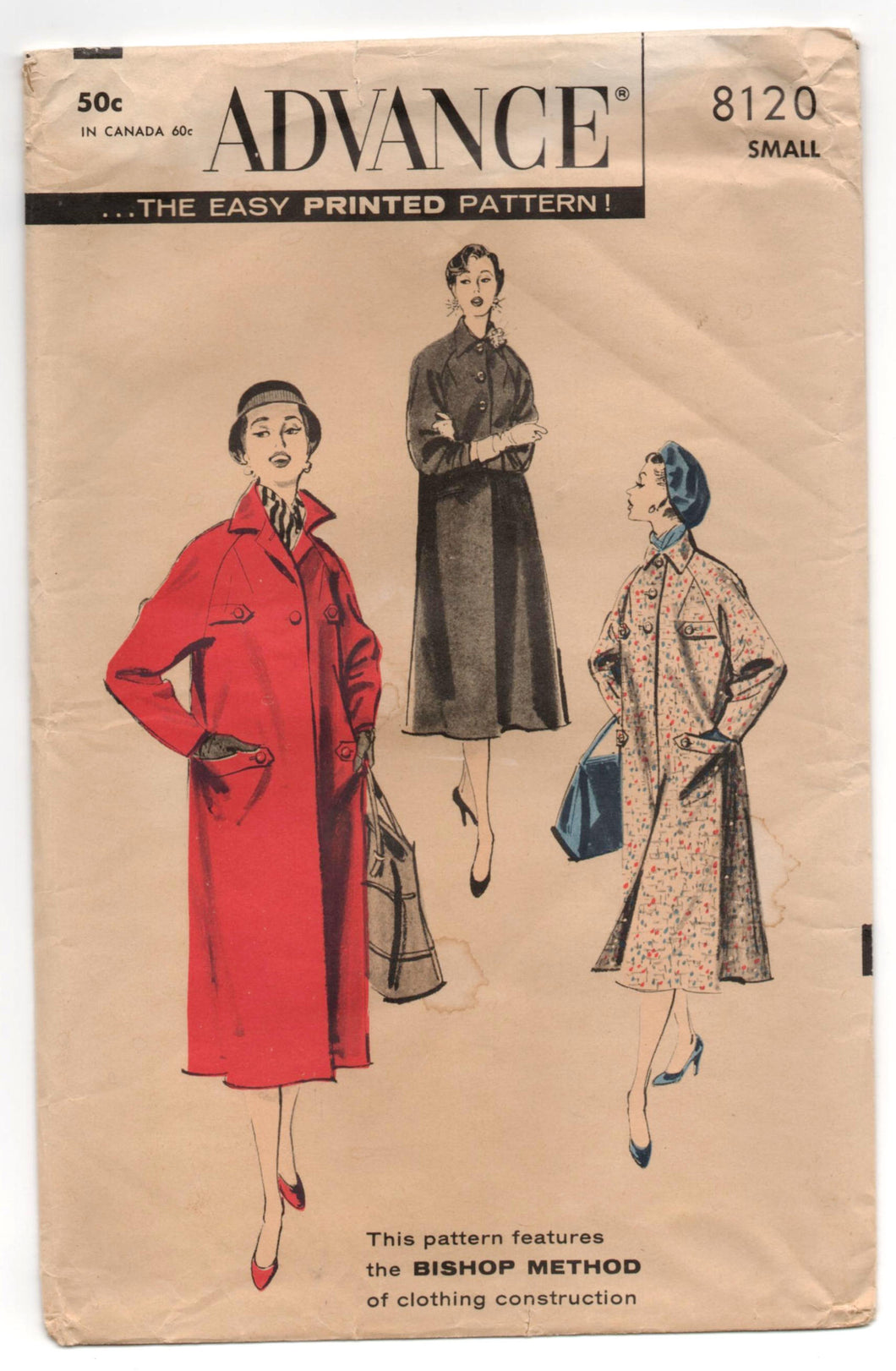 1950's Advance Long Coat Pattern - Bust 31-32