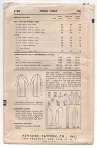 "1950's Advance Long Coat Pattern - Bust 31-32"" - UC/FF - No. 8120"